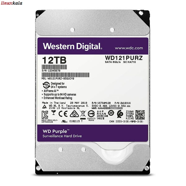 هارد دیسک اینترنال وسترن دیجیتال سری بنفش 12 ترابایت